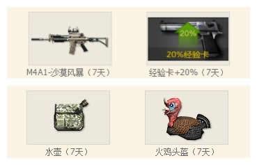 cf新手礼包领取2013(新兵大礼包A:M4A1-沙漠风暴、经验卡+20%、水壶、火鸡头盔)