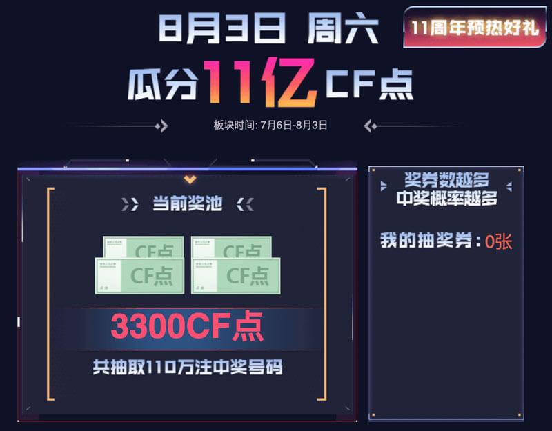 8月3日CF活动瓜分11亿CF点